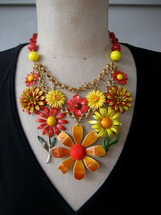 RESERVED Vintage Enamel Flower Necklace Bib by rebecca3030 on Etsy, $219.00
