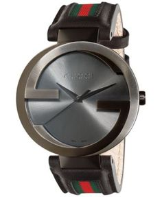Gucci Watch, Unisex Swiss Interlocking Green and Red Striped Black Leather Strap Gucci Watches For Men, Cheap Watches For Men, Mens Watches For Sale, Fine Watches, Gucci Men, Cool Watches, Red Watches, Casual Watches, Wrist Watches