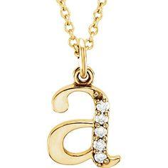 "14k Gold .03 CTW Natural Diamond Lowercase Letter Initial Pendant 16"" Necklace Tiea Jewels Rose Gold Initial Necklace, Initial Pendant Necklace, Initial Necklaces, Alphabet Necklace, Initial Earrings, 18 Inch Gold Chain, H Color Diamond, Necklace Chain Lengths, Letter Pendants"