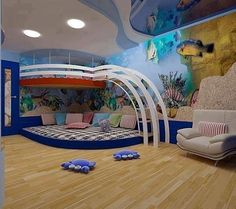 Boy room for preteen,it is Awesome interior design with cool color combination,it can be very challenging task to design kids room,this blog will give you ideas how to decor kids rooms with various designs,The wall and sealing reflects the theme of under sea and it occupy few place so the kid having more space to play.