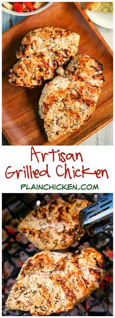 Artisan Grilled Chicken Recipe - chicken marinated in garlic, onion, thyme, sugar, salt, honey and lemon juice - SO flavorful! LOVED the hint of sweetness from the honey. You may want to double the recipe for leftovers.