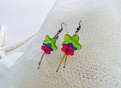 Floral Fantasy Earrings Dragonfly Pink Green Teal – Spring Summer Fun Occasions! – Warm Sands Gift Shop