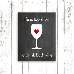 Kitchen Print  Wine Art Print with Quote  by MooseberryPrintShop, $18.00