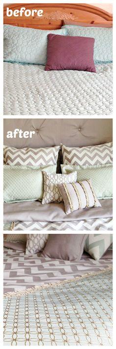 Before and After Bedding - DIY Duvet Cover #HGTVHOMEMagic