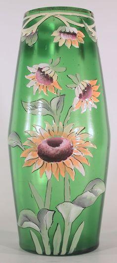 Bohemian Art Nouveau vase. Hand painted floral decoration.
