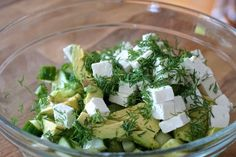 Looking for a flavourful and easy to prepare salad that works as a starter or as a main? Try our CUCUMBER, AVOCADO & FETA SALAD - something fabulous awaits! Chicken And Veggie Recipes, Easy Chicken Dinner Recipes, Vegetable Recipes, Healthy Low Carb Recipes, Vegetarian Recipes Easy, Healthy Snacks, Ketogenic Recipes, Roasted Garlic Hummus, Best Grilled Cheese