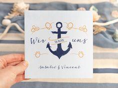 Ein Anker auf der Einladungskarte lädt ein zur Hochzeitsfeier im maritimen Stil Seafood Boil, Am Meer, Trends, Nautical Wedding, Anchor, Invitation Cards, Invitations, Beauty Trends