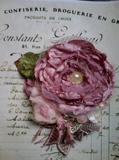 Silk rose brooch, hair accessory, mother of the bride,shabby chic brooch, romantic flower pin, floral corsage, handmade by susanjanescreations on Etsy