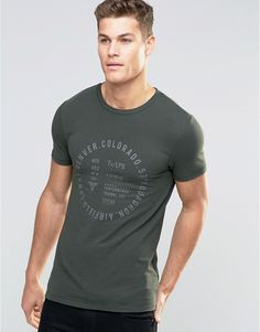ASOS Muscle Print With Text Print In Green.
