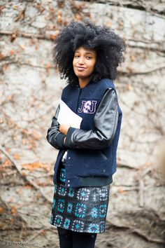 """Julia Sarr-Jamois at Moschino. Varsity jacket with her on """"JJ"""" monogramming. So dern cool ain't she? #gastrochic is for winners."""