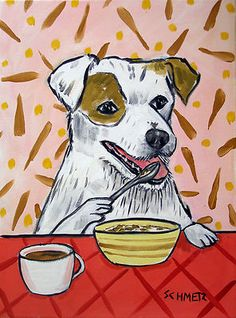 jack russell terrier eating cereal picture dog art print 13x19 giclee gift