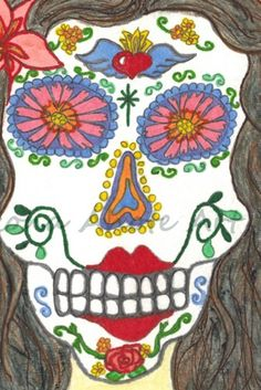 Print of Original Day of the Dead Red Flower Watercolor Painting 4x6 | ArizonaAhoteArt - Print on ArtFire