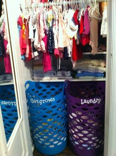 Love the outgrown and laundry basket ideas