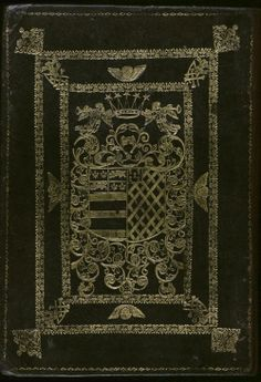 Settle 68. Author: Settle, Elkanah. Title: Honori sacellum: a funeral poem : to the memory of the most noble John Duke of Rutland. 1711. Back cover. Contemporary dark brown sheepskin binding, gold tooled with the arms of Manners impaling Noel.