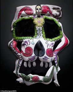 "Inspired by the collaboration of Salvador Dali and Philippe Halsman. ""Human Sugar Skull."""