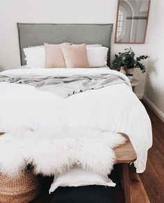 cozy and cute love all the white| #bedroom #furrug #white