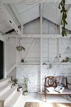 the only situation I agree with painting brick is in the case of an all white interior such as this with white wash wood.