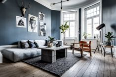 Welcome to my home Living Room Modern, Living Room Designs, Living Spaces, Home Gym Design, Color Tile, Decoration Table, Blue Walls, Scandinavian Interior, Couch