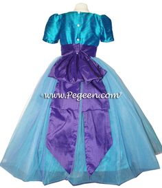 flower girl dress for peacock themed weddings - pegeen style 394