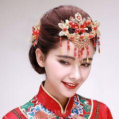 中式秀禾服流蘇額飾+髮飾新娘頭飾