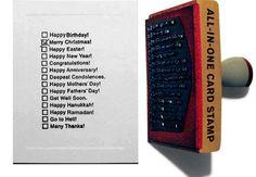 All-In-One Card Stamp. Ji Lee ha ideato All-In-One Card Stamp, un timbro per realizzare velocemente biglietti per ogni occasione: auguri di compleanno, di Natale o di anno nuovo, ma anche semplicemente un biglietto di ringraziamento. Via swiss-miss.com