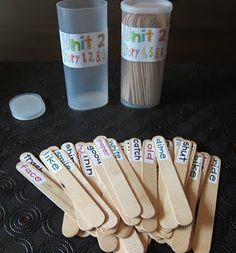 love this idea, too bad she doesn't teach kindergarten!  Give a student a stick that has a high freq. word and they must use it in their daily writing task.