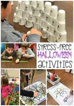 Stress-free Halloween activities are perfect for a fun party at home or in the classroom. Low prep ideas include simple crafts, movement games, stem challenges and tons of fun. Kindergarten Halloween Party, Classroom Halloween Party, Halloween Activities For Kids, Halloween Party Games, Theme Halloween, Kids Party Games, Halloween Kids, Happy Halloween, Fall Party Ideas For Kids School