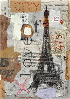 Eiffel Paris  Painting Collage ART PRINT Hand Signed by by rcolo, $11.00