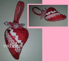 Červené+srdíčko+Valentýnské+patchworkové+srdíčko