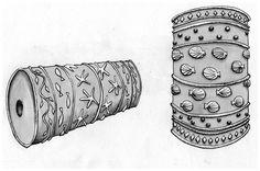 dessin réalisé lors de l'écriture d'un texte sur la confection de tissus imprimés grâce à des timbres circulaires à Tahala, la cité des aigles.