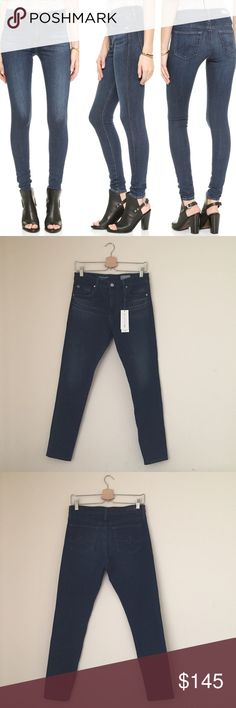AG Denim Farrah High Rise Skinny Jeans Dark-wash AG Adriano Goldschmied skinny jeans with a flattering high rise. Fading and whiskering lend a well-worn feel. 4-pocket styling. Button closure and zip fly.  •Size 29  •New with tag  •NO TRADES/HOLDS AG Adriano Goldschmied Jeans Skinny