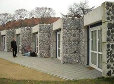 Stone facade container house
