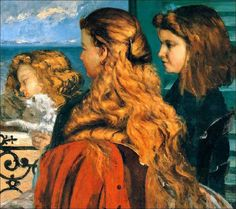 Gustave Courbet  Three english girls at a window  -  1865