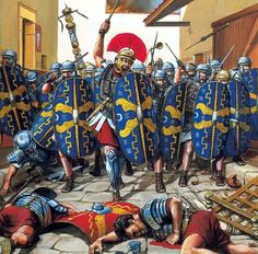 Year of Four Emperors. Praetorians charge the streets of Cremona in aftermath of the main battle. Artist unknown, unfortunately.
