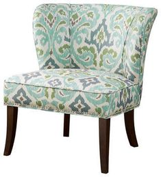 New ModHaus Living Contemporary Green Blue Ikat Abstract Floral Print Upholstered Armless Accent Chair Nailhead Trim Dark Wood Legs - Includes Pen online shopping - Ppwonderfulrange Beige Accent Chairs, Green Accent Chair, Wingback Accent Chair, Upholstered Dining Chairs, Teal Chair, Wingback Chairs, Armchair, Modern Home Furniture, Brown Furniture