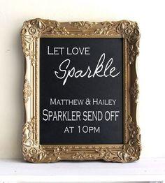 Elegant gold chalkboard signage for the send off #wedding #gold #blacktie #diywedding #sparklers