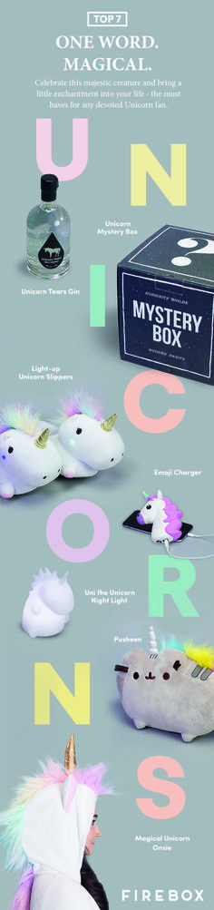 Top 7 Magical Unicorns. Let's celebrate this majestic creature and bring little enchantment into your life - the must haves for any devoted Unicorn fans