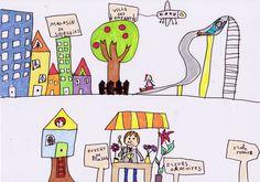 """""""La ville des enfants"""" par une petite fille de 8 ans, pour le concours """"dessine ta ville idéale"""" sur la little gallery."""