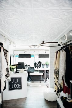 MODERN BOHEMIAN INTERIOR DESIGN FASHION TRUCK WHITE TIN CEILING