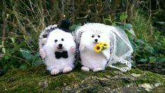 Mr and Mrs Needlefelt Hog on their wedding day. Perfect wedding gift.  Handmade by our Ceri crafting through #ChronicIllness on ConsciousCrafties.com  #Spoonie #SpoonieCraft #InvisibleFight #Wedding #WeddingGift