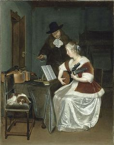 Women and Music in Painting 16-18th c+ Жерар Терборха, Урок музыки. Около 1670