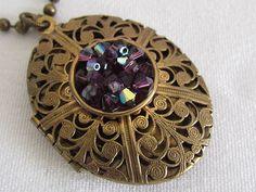 Liz Palacios Bronze Locket Necklace Enamel Swarovski Crystals