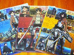 Attack On Titan Clear File Folder 3set Eren Mikasa Levi Unsold Item Only Japan
