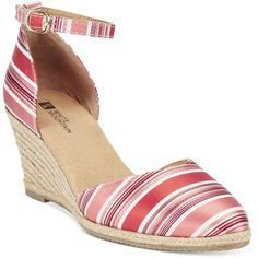 White Mountain Candy Man Espadrille Wedges ($48) ❤ liked on Polyvore featuring shoes, sandals, coral stripe, wedge shoes, wedge heel sandals, wedge espadrilles, ankle strap sandals and ankle tie espadrilles