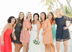 mismatched #bridesmaids at a beach wedding