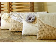 burlap bag clutch purse lace rustic wedding set 3 by hoganfe