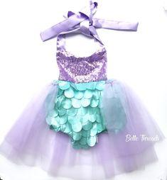 Fun mermaid outfit for girls. Handmade by Belle Threads. . #mermaidtutu #mermaidtutudress #mermaidoutfit #mermaidromper #mermaidparty
