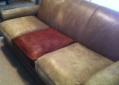 The Crandall Family: The Couch: Leather Dying Tutorial She dyed her FREE sofa, and it looks great! Leather Dye, Leather Sofa, Leather Repair, Leather Furniture, Painted Furniture, Furniture Makeover, Diy Furniture, Furniture Websites, Furniture Removal