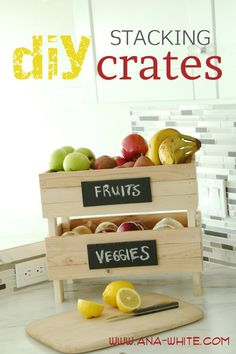 Build Stackable Fruit and Veggie Crates: I am always looking for new/better ways to organize my kitchen!