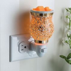Candle Warmers Etc. Gold-Tone Mosaic Outlet Wax Melt Warmer, Gold